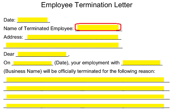 record the name of the terminated employee on the second blank space