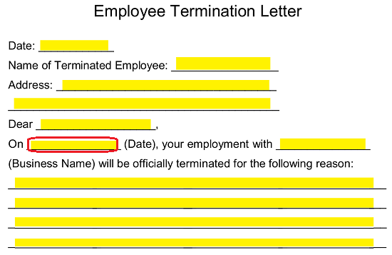 Sample Wrongful Termination Letter To Employer from eforms.com