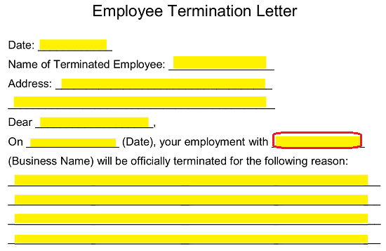 Free Employee Termination Letter Template - PDF | Word | eForms ...