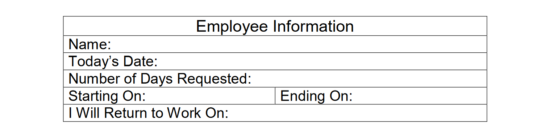 Free Employee TimeOff Request Form Word PDF – Request off Form