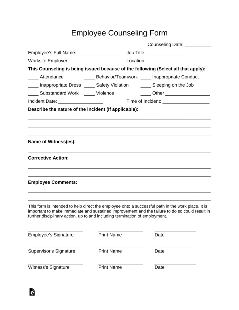 Free Employee Counseling Form Word PDF – Employee Counseling Form