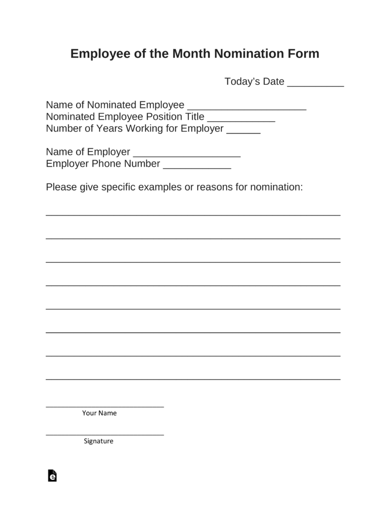 Free Employee of the Month Nomination Form - PDF | Word | eForms ...