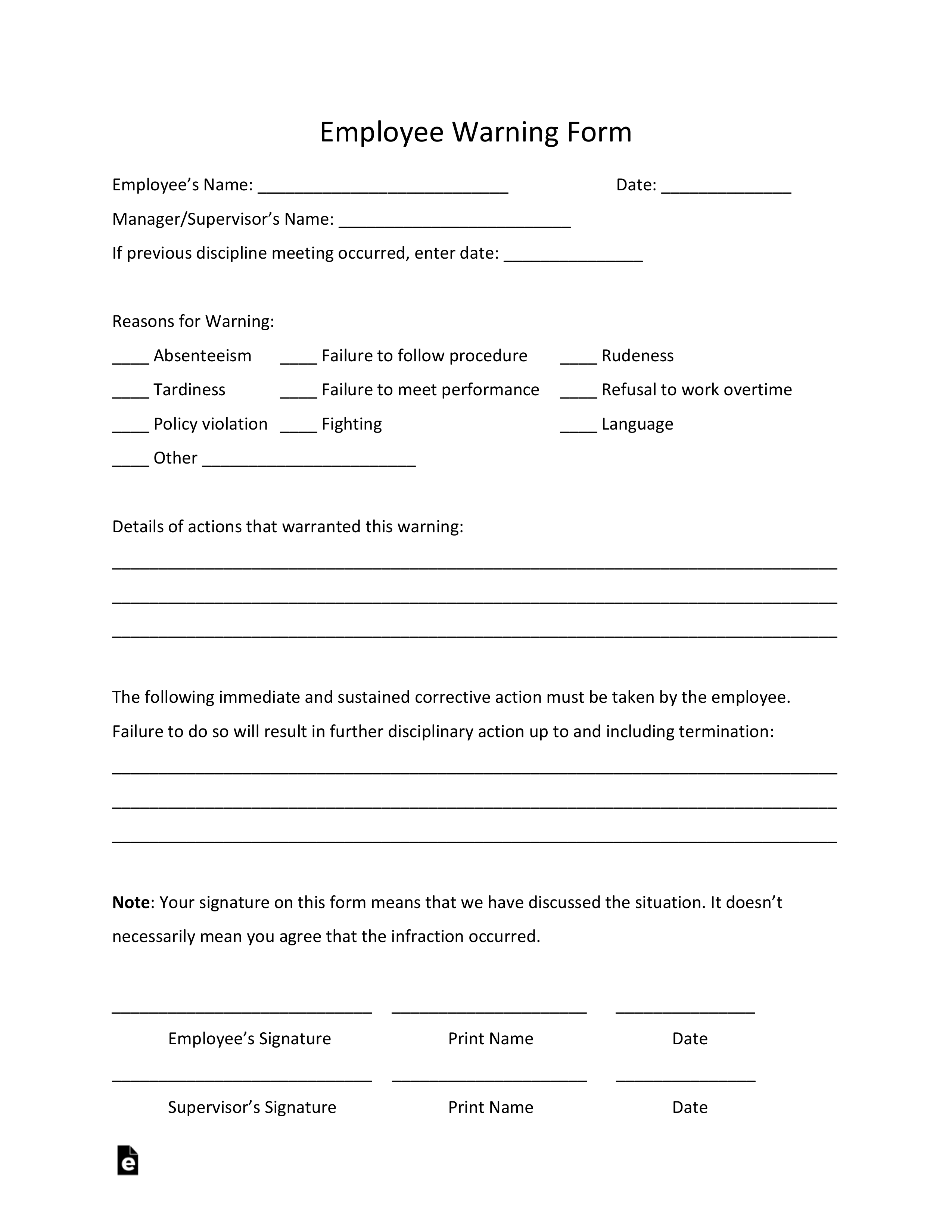 Free Employee Warning Notice Template Pdf Word Eforms