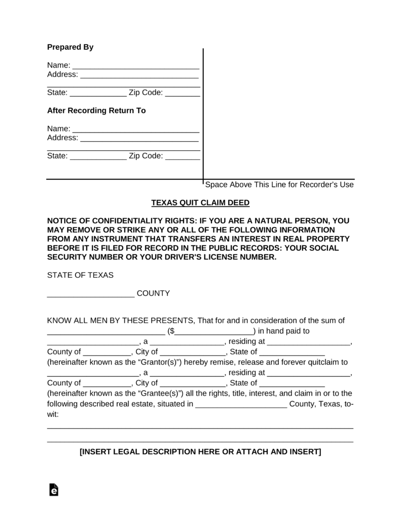 Free Texas Quit Claim Deed Form - PDF | Word | eForms – Free ...