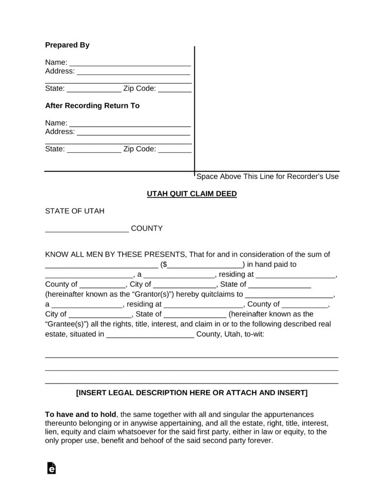 quit claim deed utah Free Utah Quit Claim Deed Form - PDF | Word | eForms – Free Fillable ...