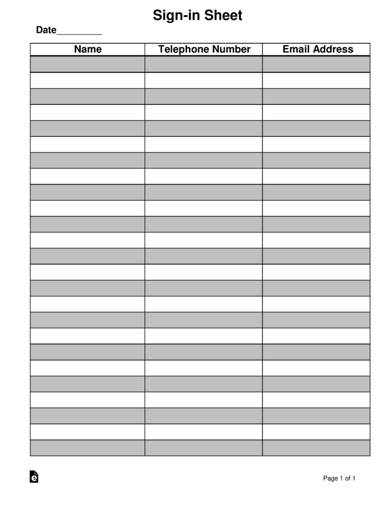attendance guest sign in sheet template eforms free fillable forms
