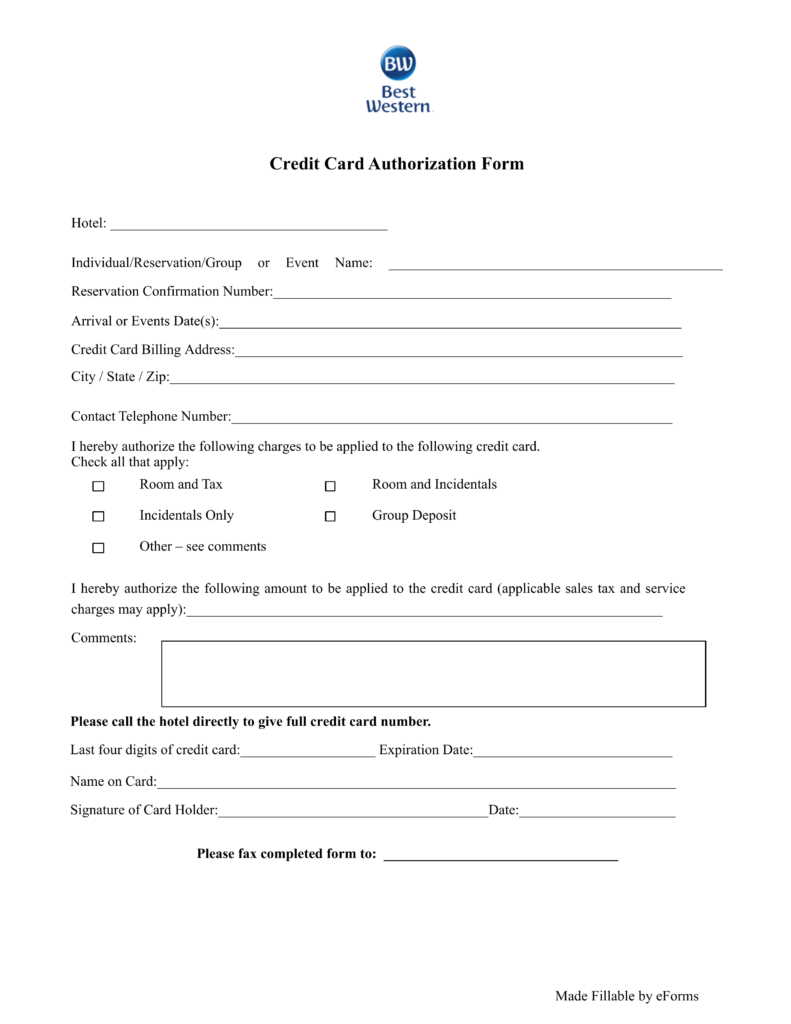 Free Best Western Hotel Credit Card Authorization Form   PDF | EForms U2013  Free Fillable Forms