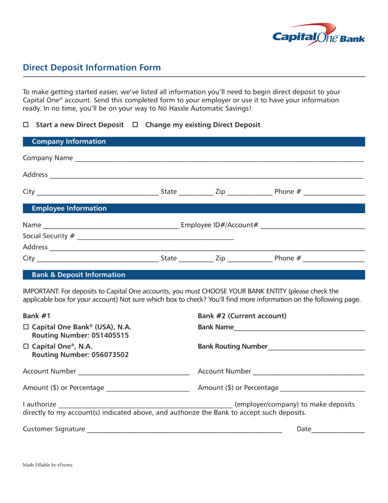 Free Capital One (360) Direct Deposit Authorization Form - PDF ...
