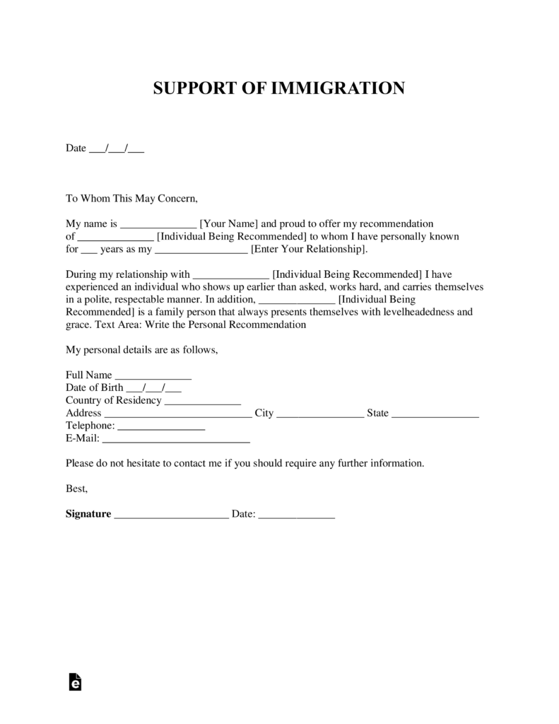 Free Character Reference Letter for Immigration Template – Personal Recomendation Letter