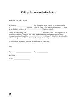 college recommendation letter from employer