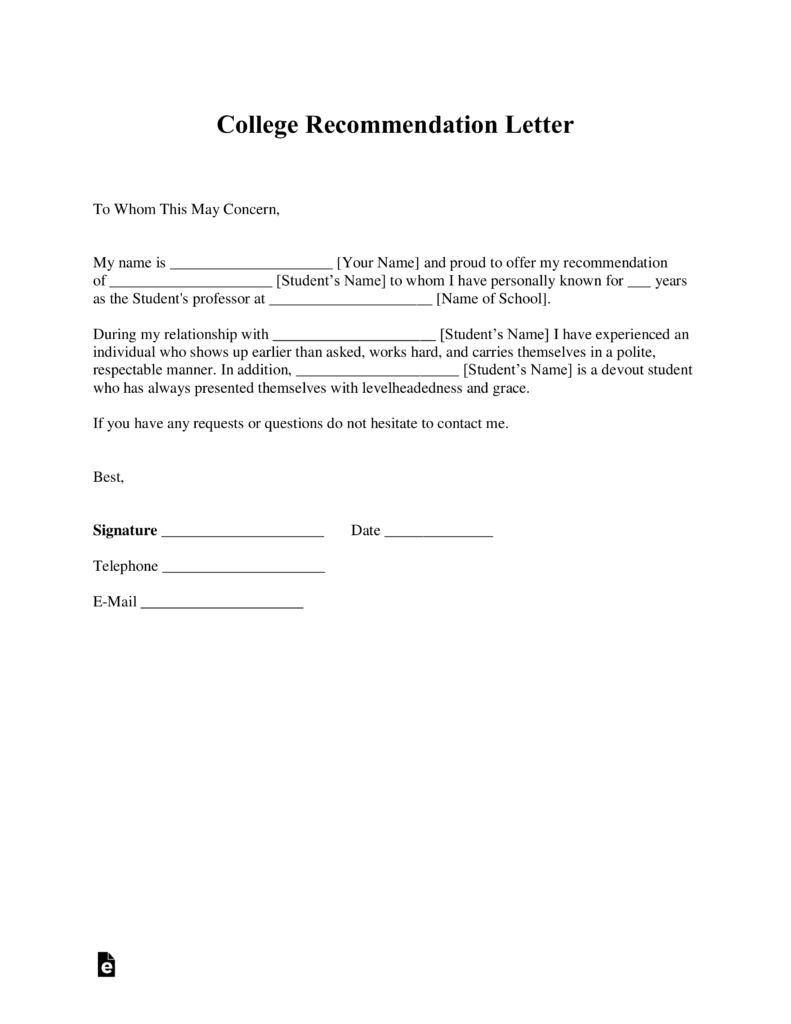 Free College Recommendation Letter Template   With Samples   PDF | Word |  EForms U2013 Free Fillable Forms