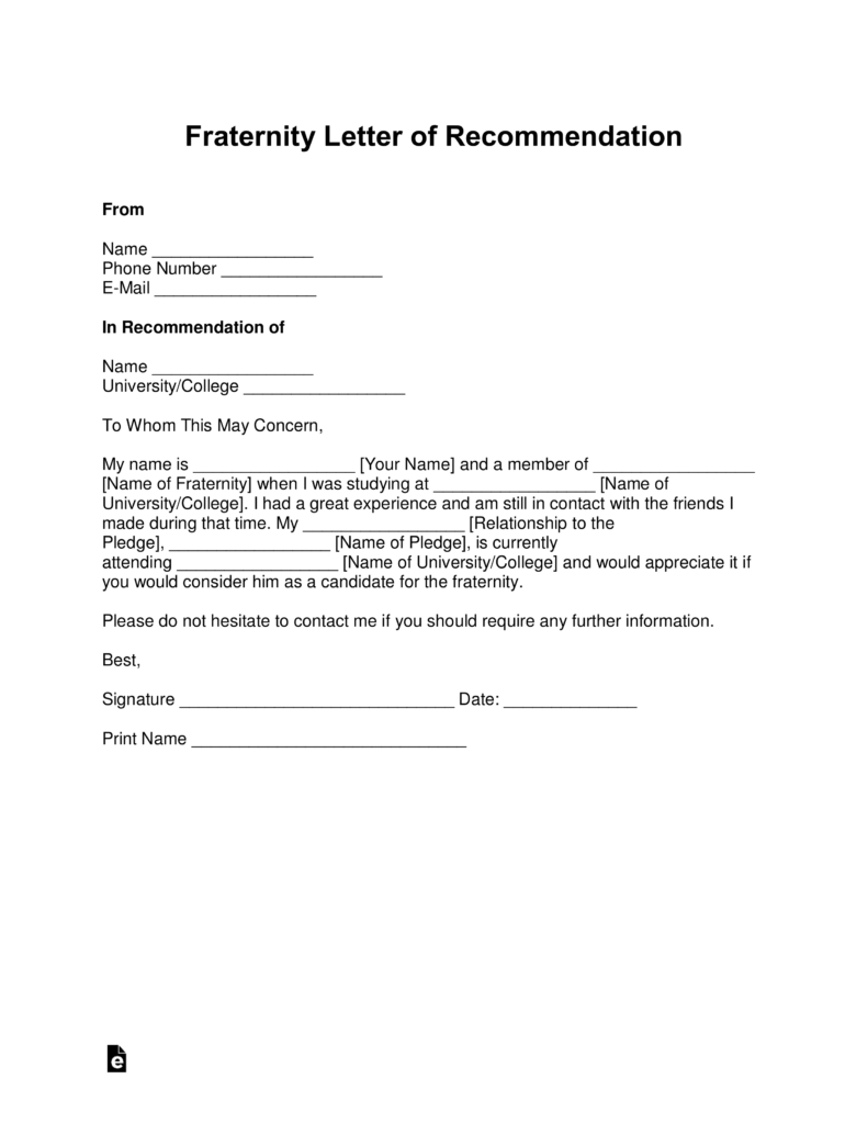 Free Fraternity Letter Of Recommendation Template   With Samples   PDF |  Word | EForms U2013 Free Fillable Forms