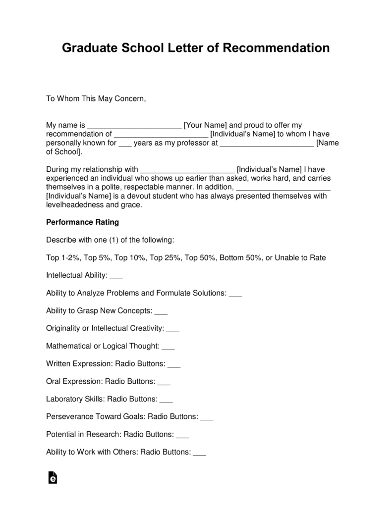 Free Graduate School Letter Of Recommendation Template   With Samples    Word | PDF | EForms U2013 Free Fillable Forms  Example Of Letter Of Recommendation