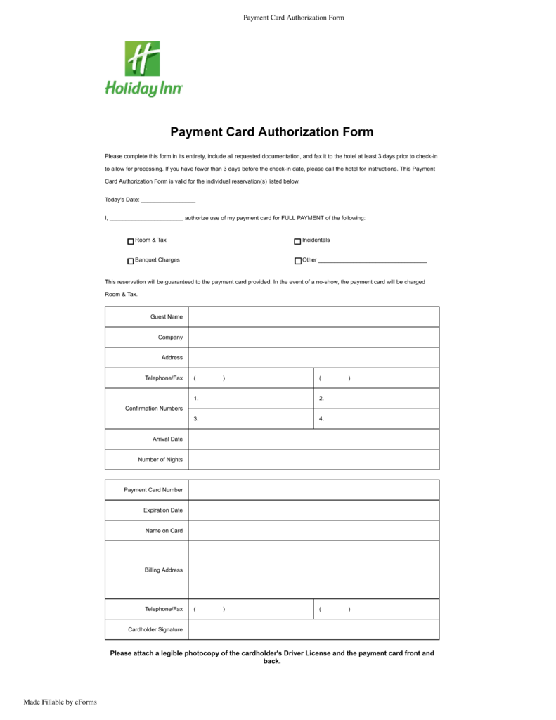 Free Holiday Inn Credit Card Authorization Form Pdf