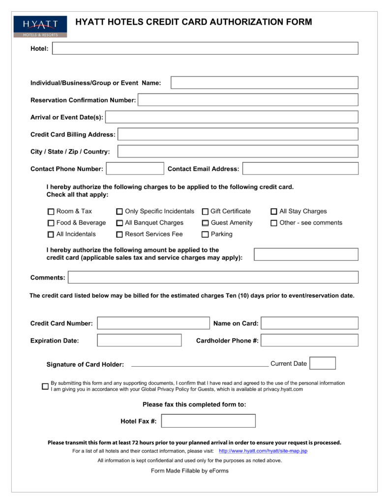 hyatt credit card authorization form Free Hyatt Credit Card Authorization Form - PDF | eForms – Free ...
