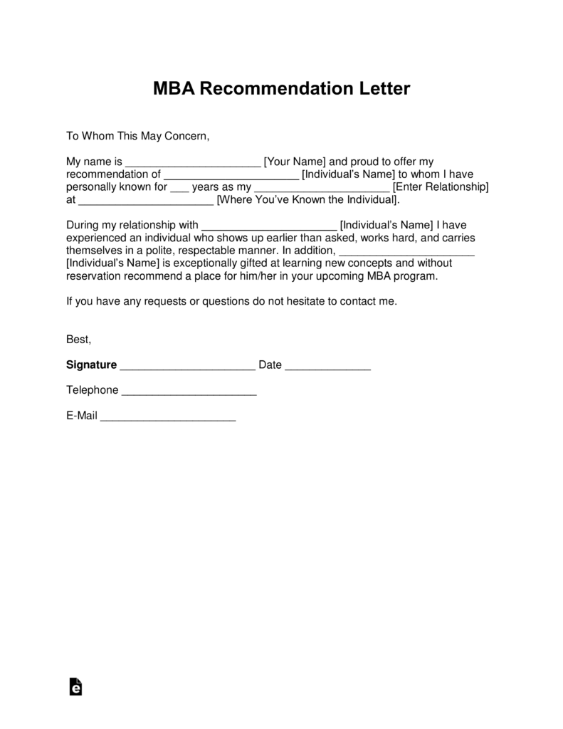 Free MBA Letter Of Recommendation Template