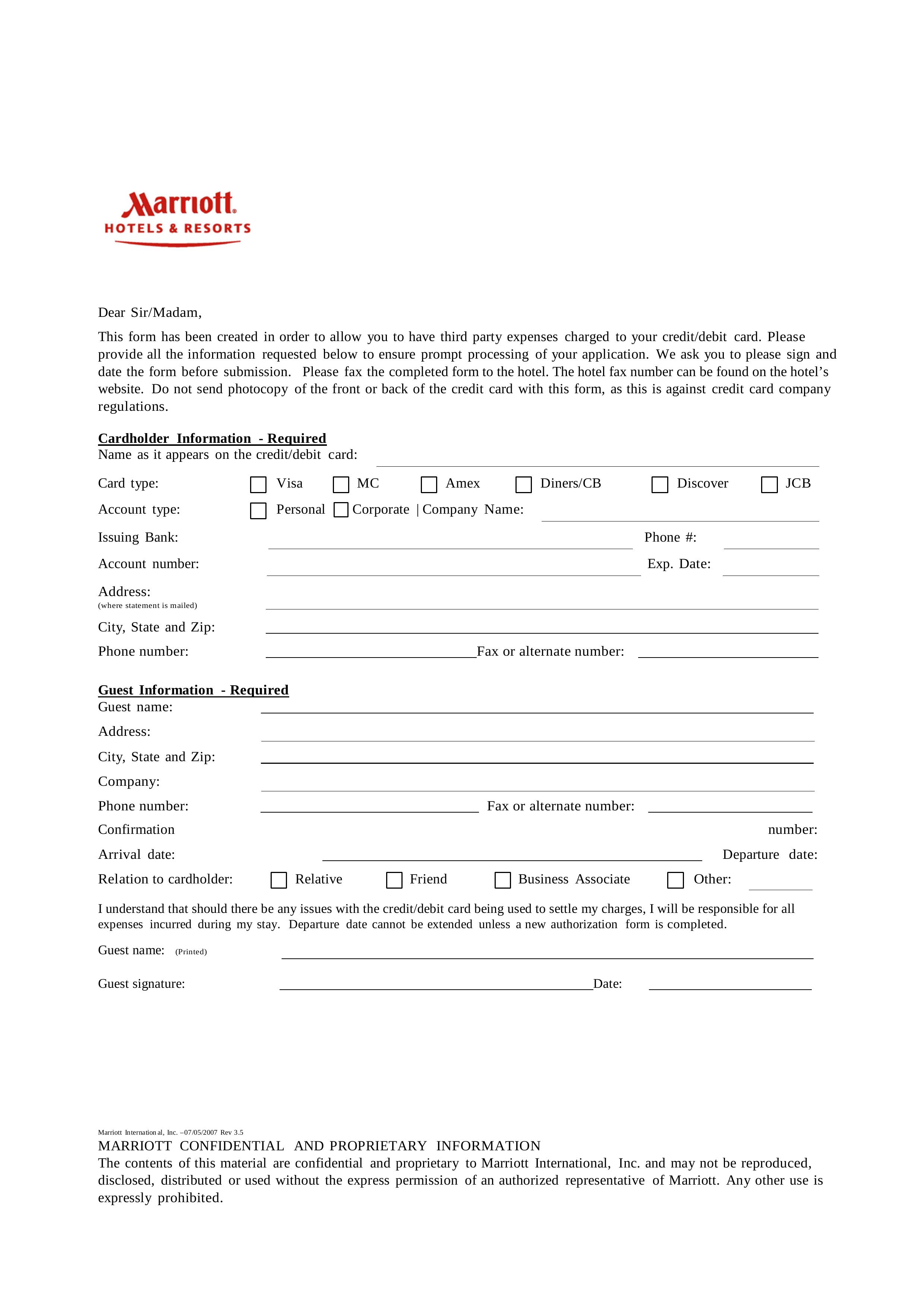 Free Marriott Credit Card Authorization Form Pdf Eforms