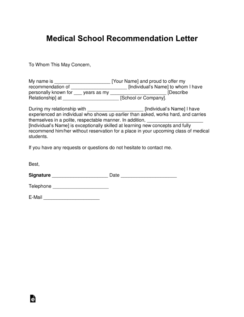 Free Medical School Letter Of Recommendation Template  With Samples