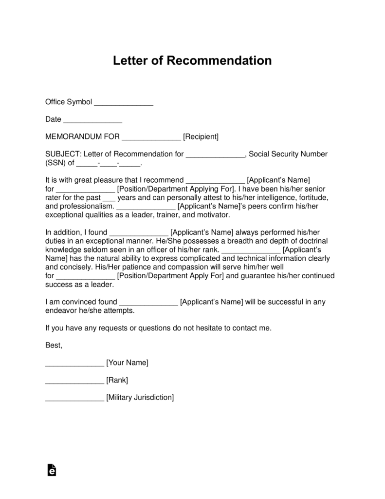 free military letter of recommendation templates