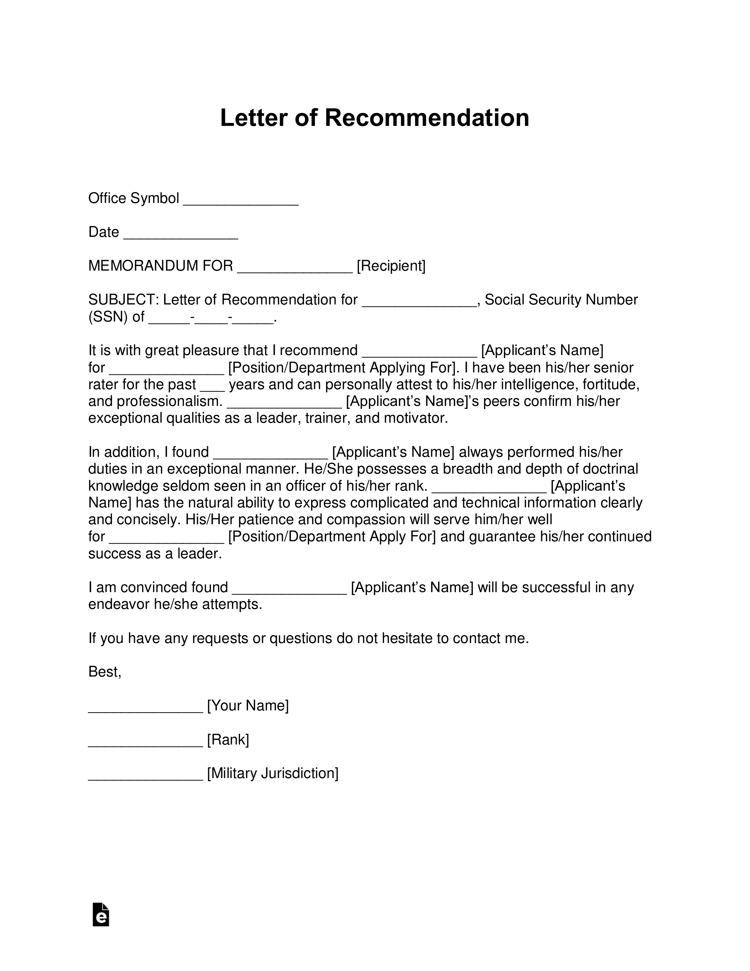 Promotion Letter Of Recommendation from eforms.com