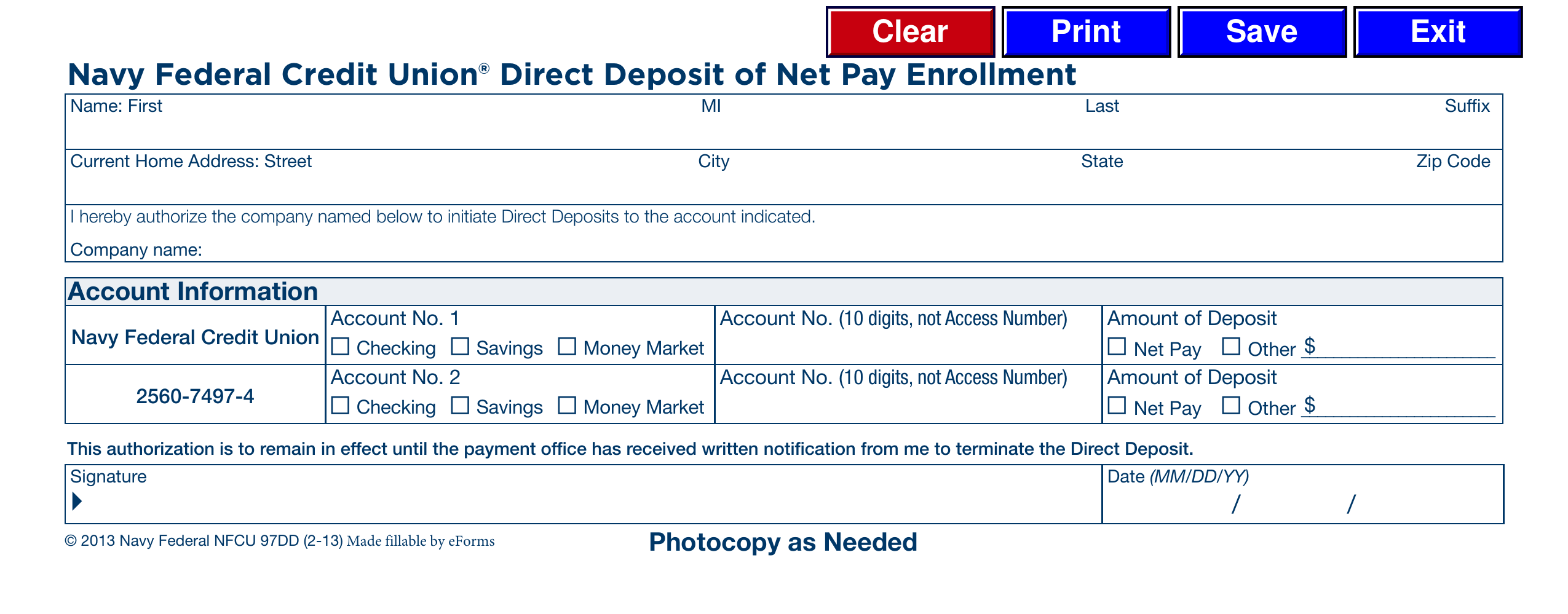 direct deposit form navy federal  Free Navy Federal Credit Union (NFCU) Direct Deposit Form ...