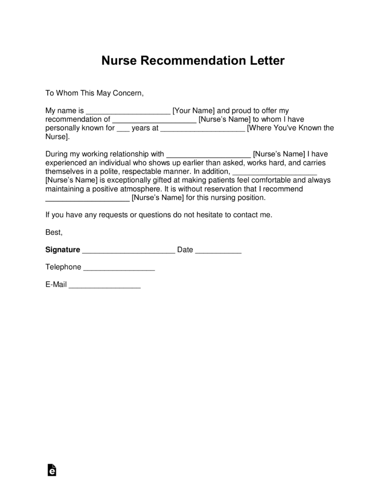 Free Registered Nurse (RN) Letter Of Recommendation Template   With Samples    PDF | Word | EForms U2013 Free Fillable Forms