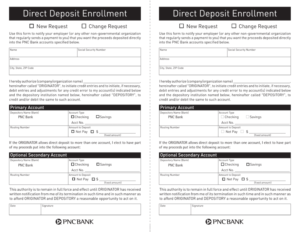 free pnc bank direct deposit authorization form - pdf | eforms