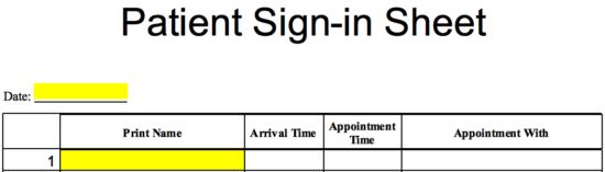 patient sign in sheet template eforms free fillable forms