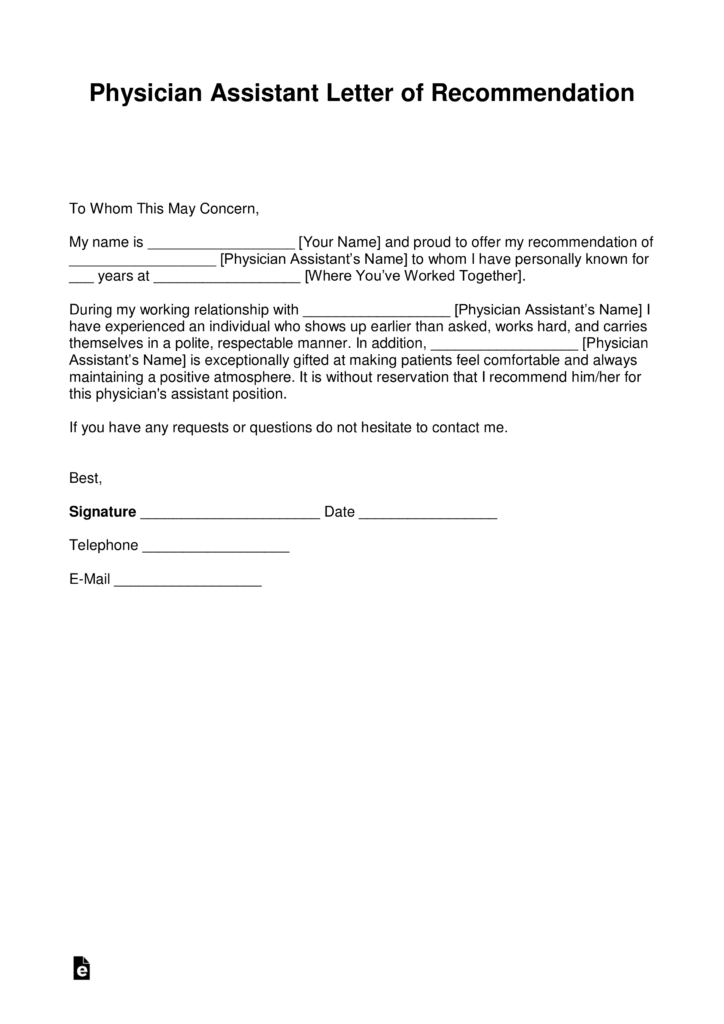 Free Physician Assistant Letter Of Recommendation Template With