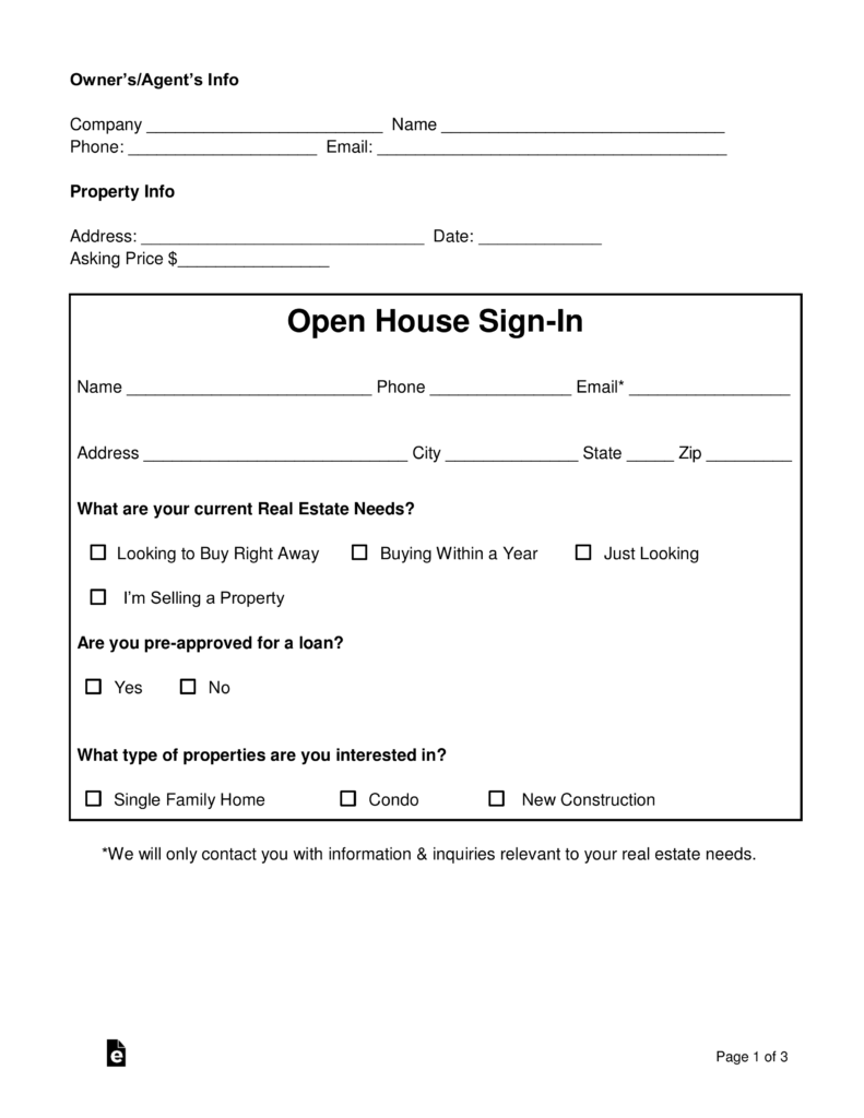 Real Estate Open House Sign-in Sheet | eForms – Free Fillable Forms