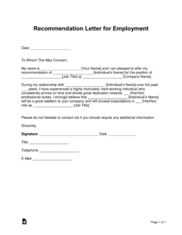 Free Job Recommendation Letter Template - with Samples - PDF