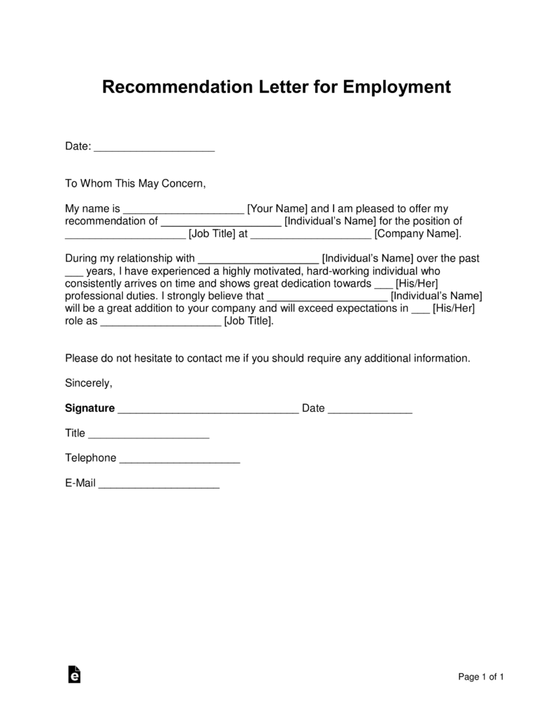 Free Job Recommendation Letter Template   with Samples   PDF