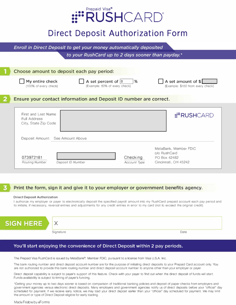free rushcard direct deposit authorization form - pdf | eforms
