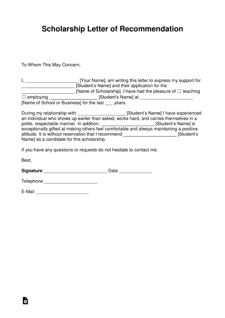 Free Recommendation Letter For Scholarship Template