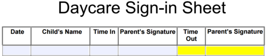 daycare sign in sheet template eforms free fillable forms