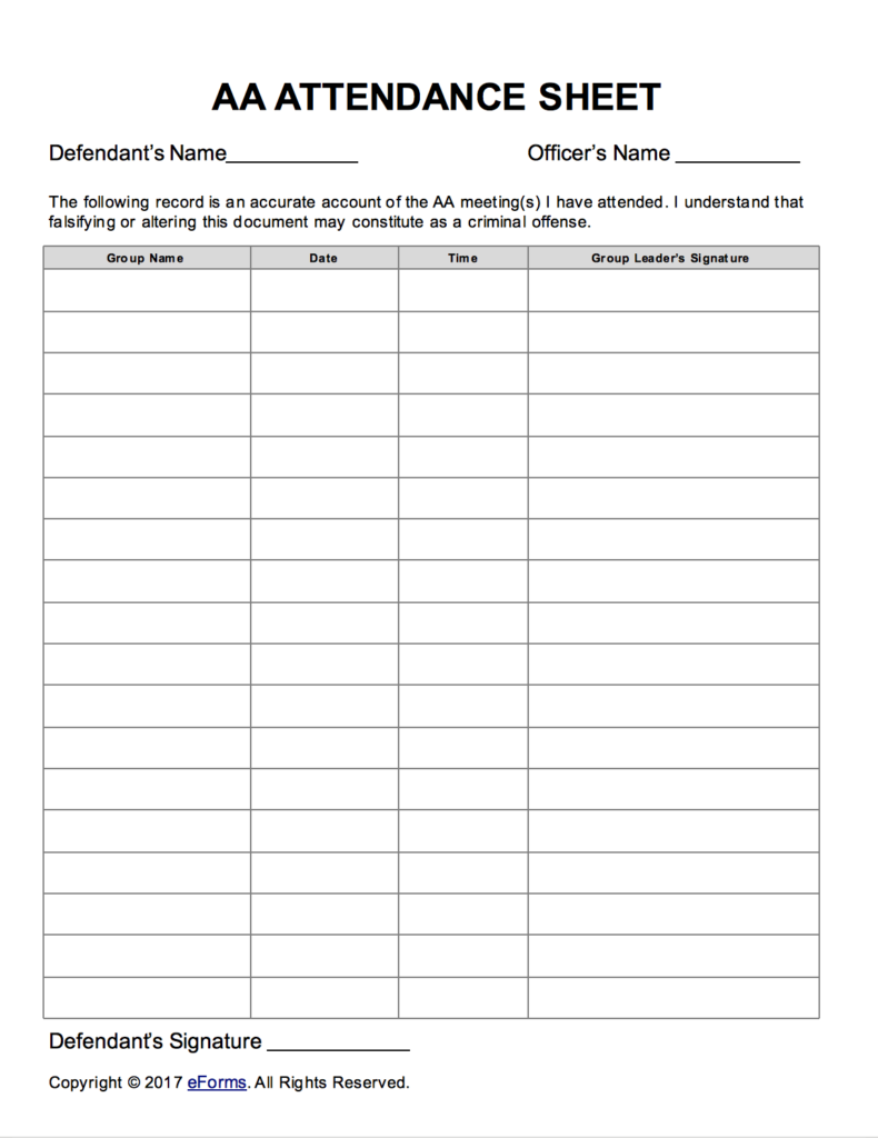 aa sign off sheet  Alcoholics Anonymous (AA) Sign-in/Attendance Sheet Template | eForms ...