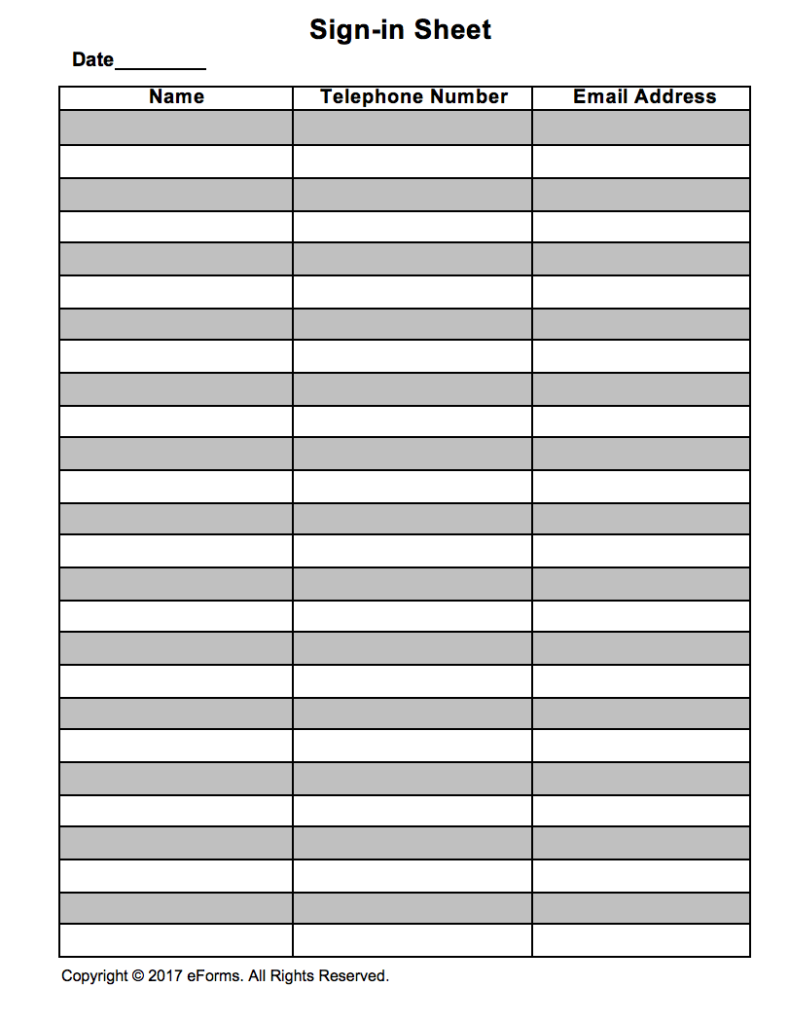 Attendance guest sign in sheet template eforms free for Group sign in sheet template