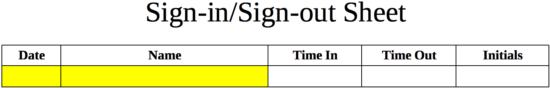 sign in sign out sheet template eforms free fillable forms