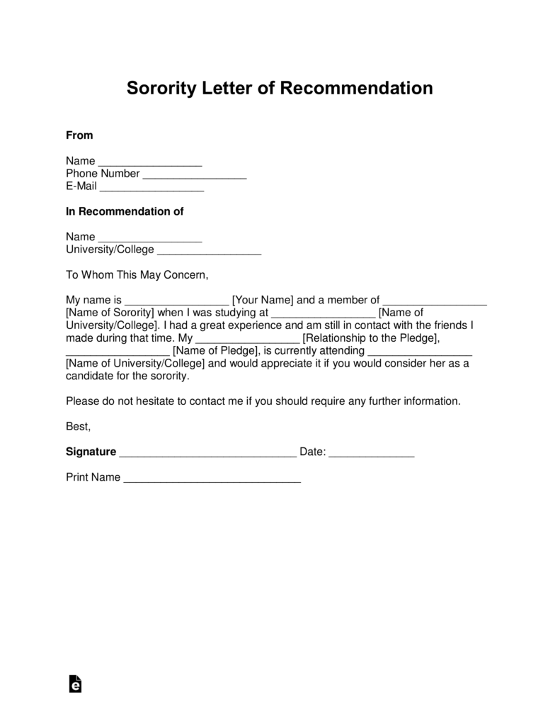Free Sorority Recommendation Letter Template   With Samples   PDF | Word |  EForms U2013 Free Fillable Forms  Letter Of Recommendation Word