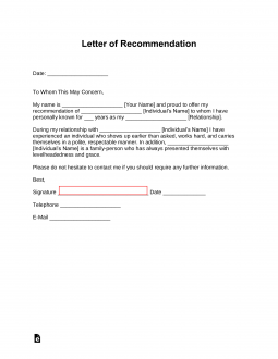 Standard-Letter-of-Recommendation-for-Employment-255x330 Template Basic Internship Letter Of Recommendation on graduate school, for professional, for clinical, for medicine, professor for,