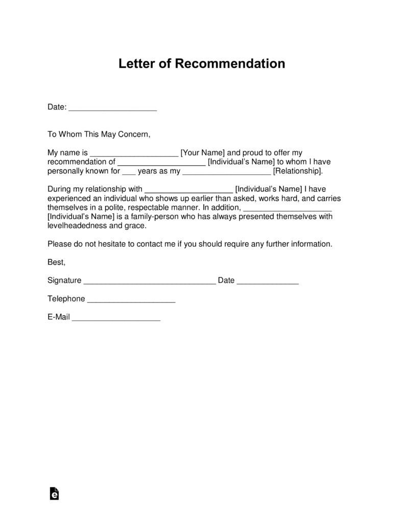 Free Professional Letter of Re mendation Template with Samples