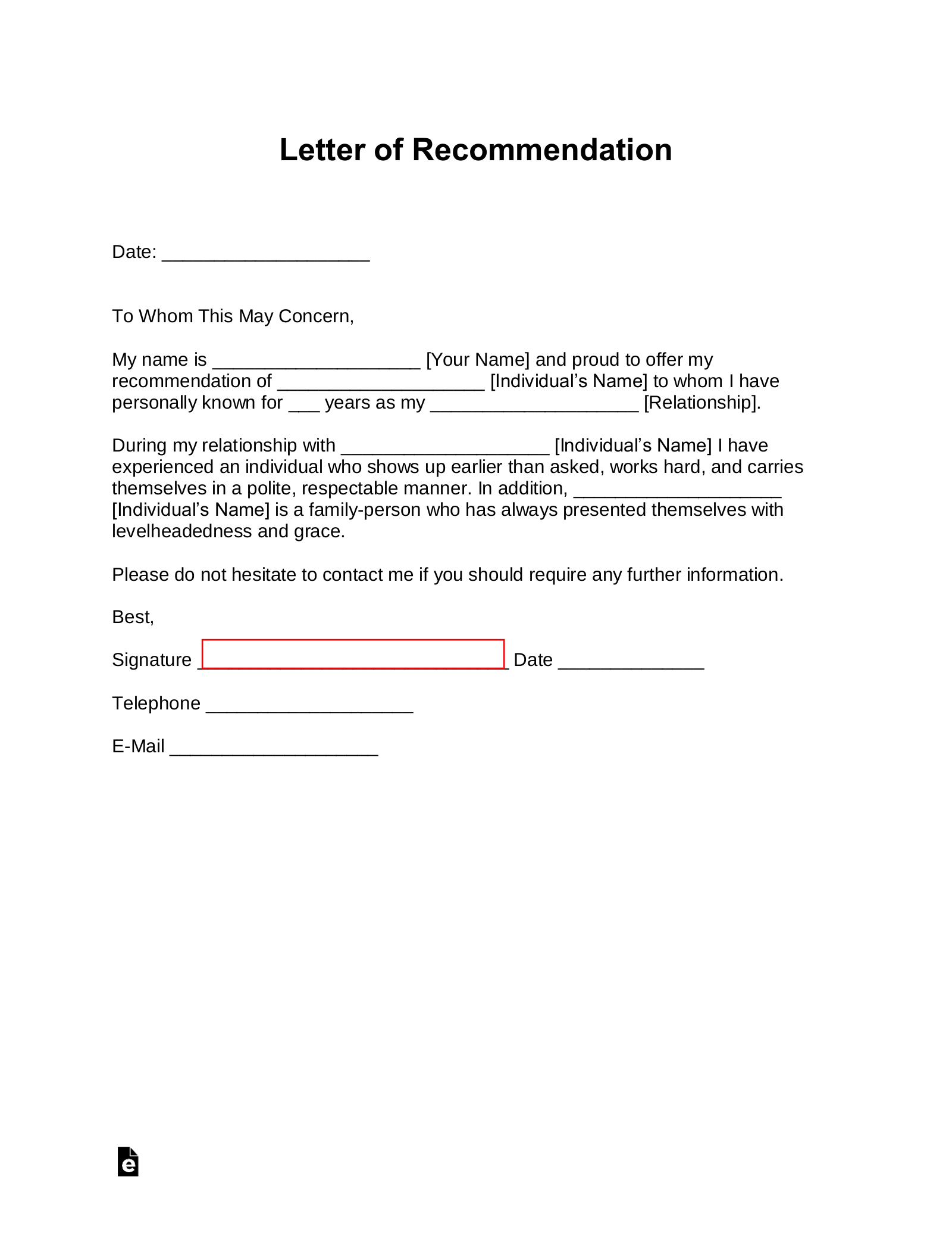 Free Letter of Recommendation Templates - Samples and