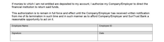 Free SunTrust Bank Direct Deposit Authorization Form - PDF | eForms