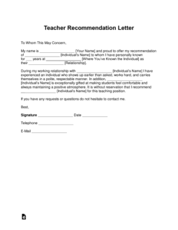 Teacher-Recommendation-Letter-Template-255x330 Teachers Letters Of Reference For College Application Form on