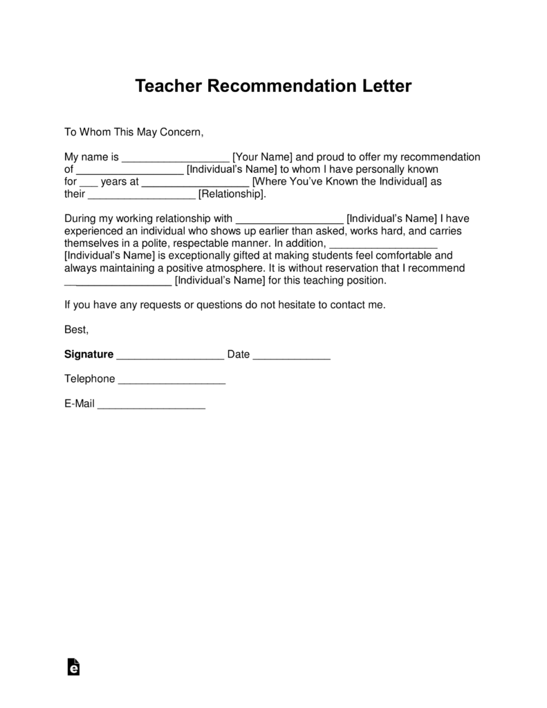 Free Teacher Re mendation Letter Template with Samples PDF