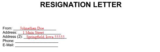 Letter Of Resignation Samples 2 Week Notice from eforms.com