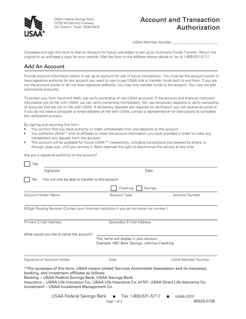 free usaa direct deposit authorization form - pdf | eforms – free