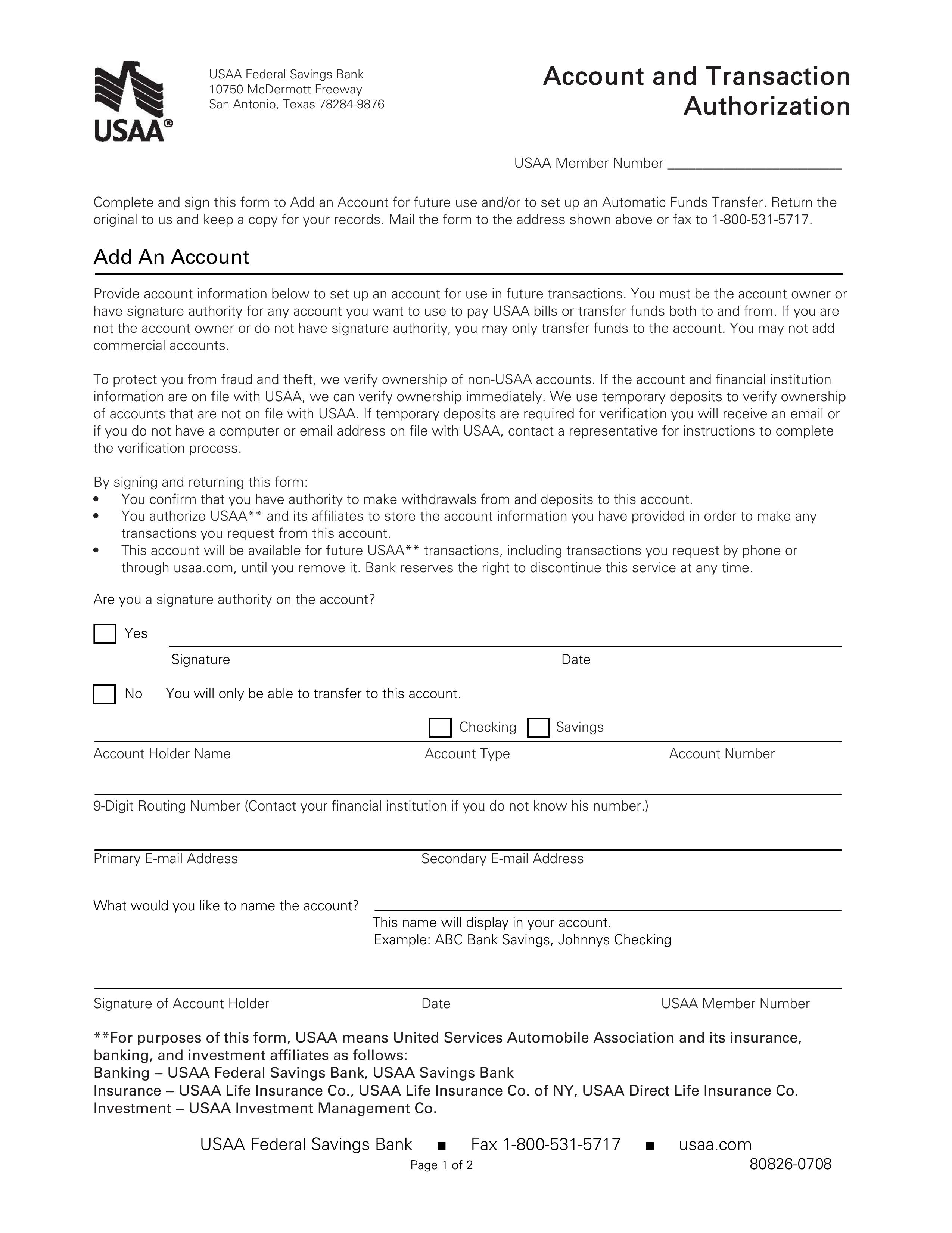 power of attorney form usaa  Free USAA Direct Deposit Authorization Form - PDF | eForms ...