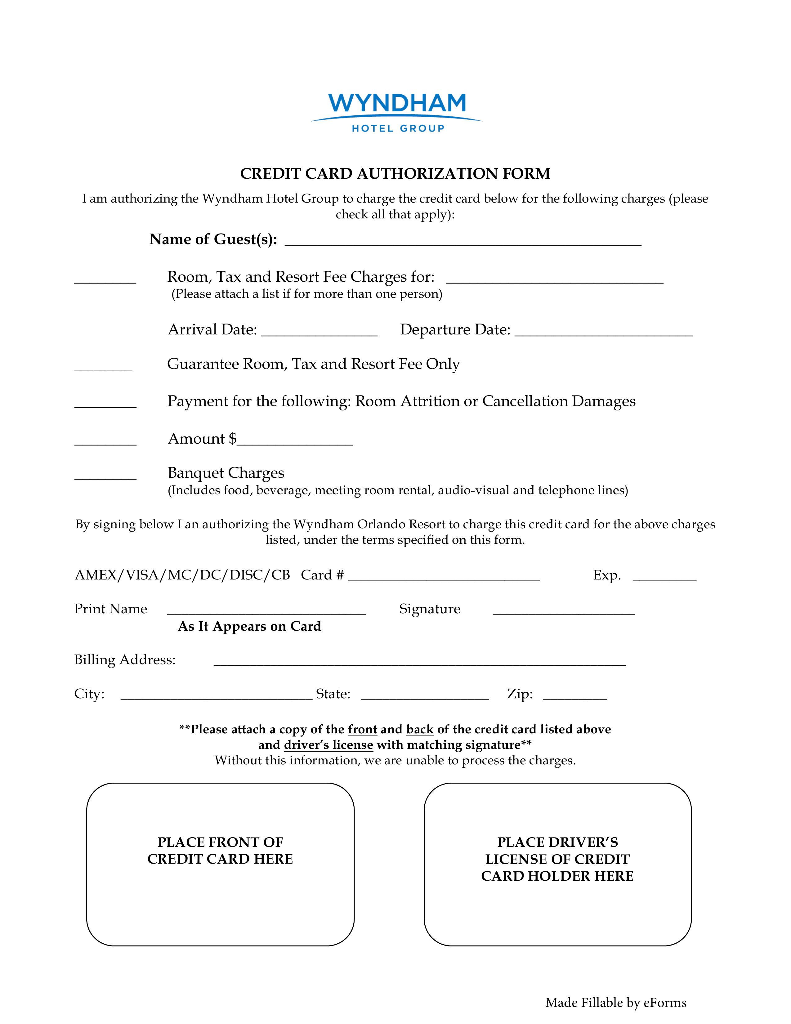 Free Wyndham Hotels Credit Card Authorization Form Word