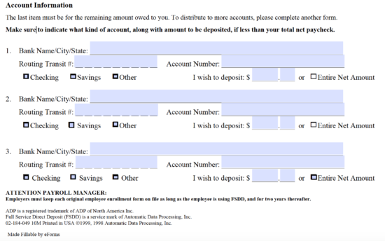 Free Adp Direct Deposit Authorization Form Pdf Eforms Free